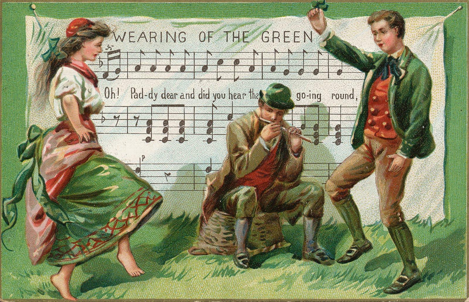 St Patricks Day Leprechaun And Dancing Couple Wallpaper
