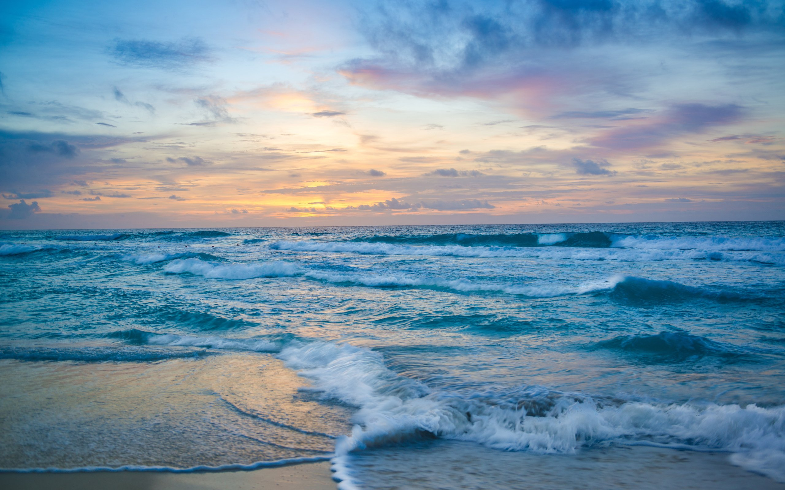 ocean sunset waves sky nature background hd wave horizon wallpapers preview