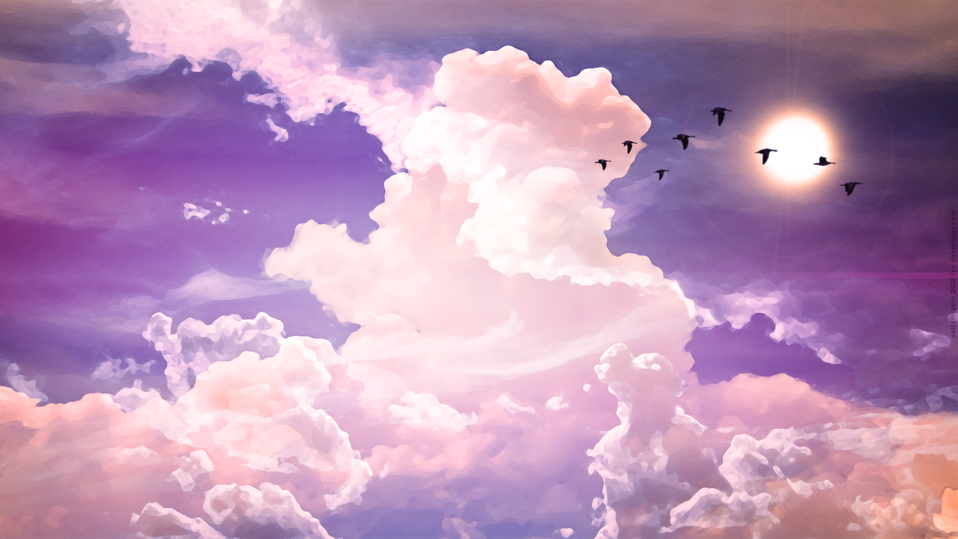 Birds flying by white puffy clouds full hd fond d 39 cran for Fond ecran tumblr