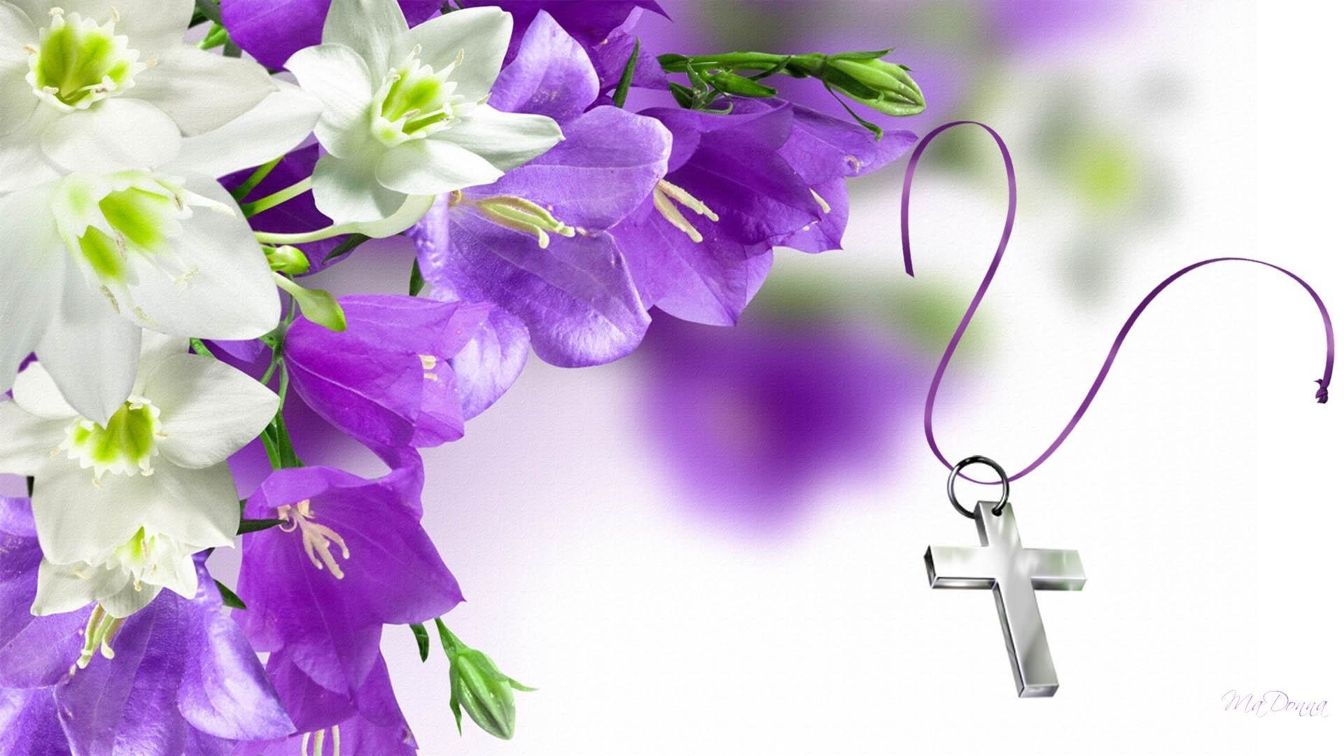 Easter Flowers And Cross Full HD Wallpaper Background Image