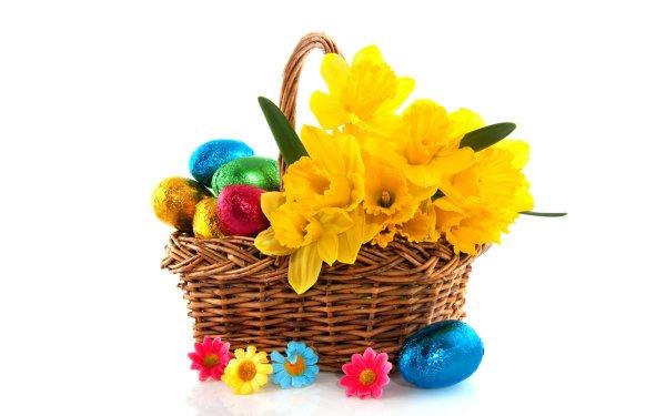 Holiday Easter Egg Colorful Basket Flower Daffodil Easter Egg Yellow Flower HD Wallpaper | Background Image
