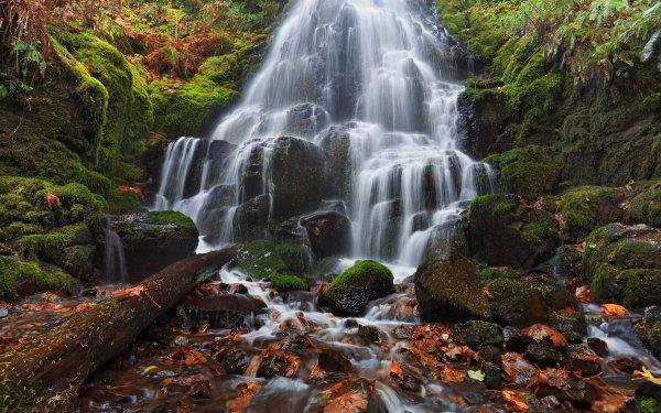 Earth Wahkeena Falls Waterfalls Waterfall Oregon Rock Moss Fall HD Wallpaper   Background Image