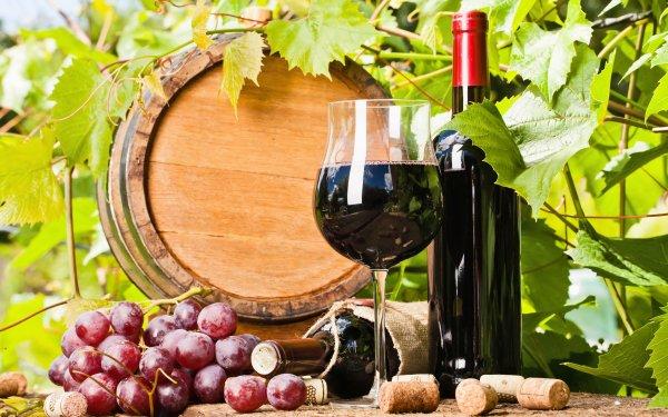 Food Wine Grapes Barrel Still Life Bottle Glass HD Wallpaper | Background Image