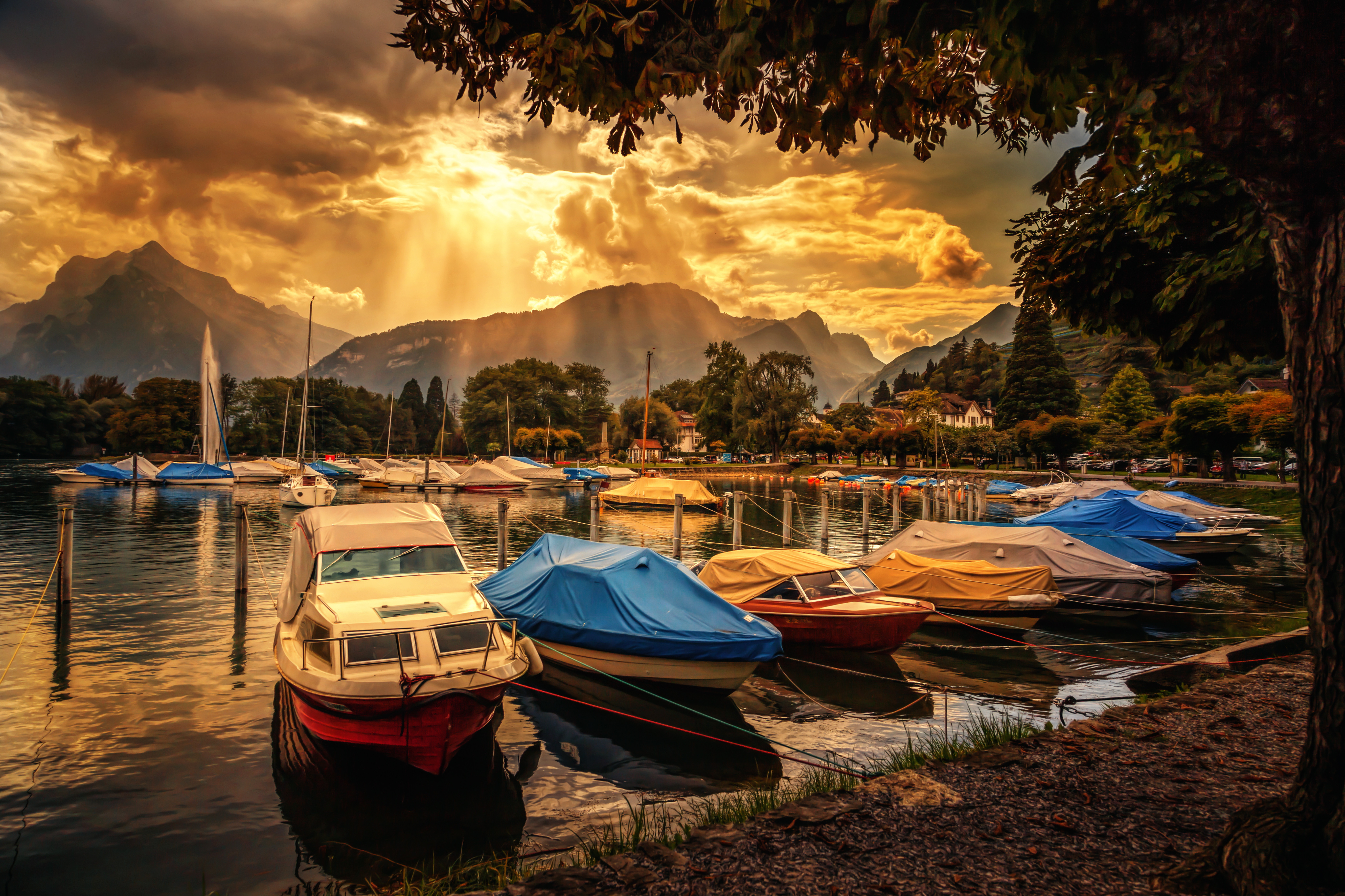 Cloudy sunset over marina 5k retina ultra hd wallpaper and vehicles boat vehicle marina sky sunset cloud sunshine hdr wallpaper thecheapjerseys Image collections