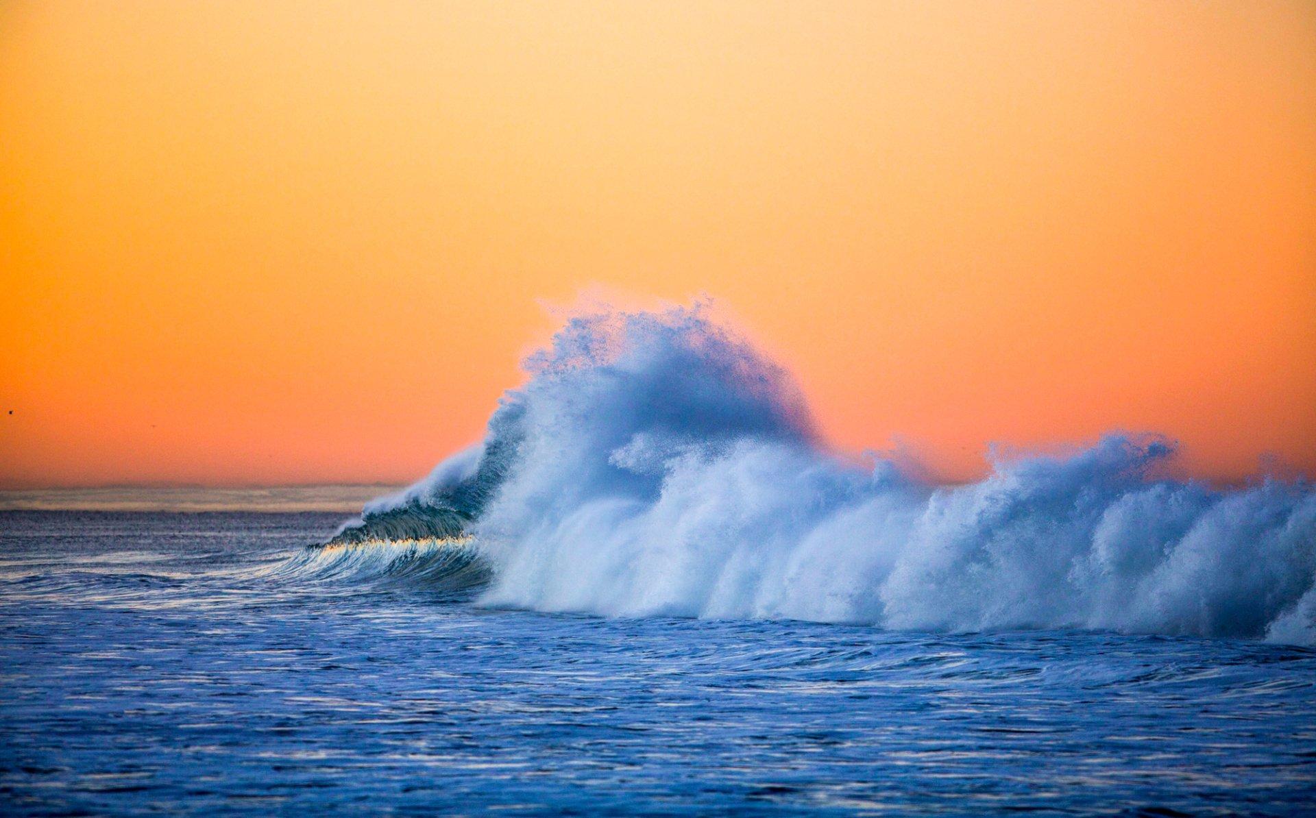 Earth - Wave  Sunset Earth Ocean Wallpaper