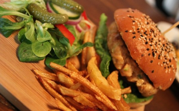 Food Burger French Fries Pickle Salad HD Wallpaper | Background Image