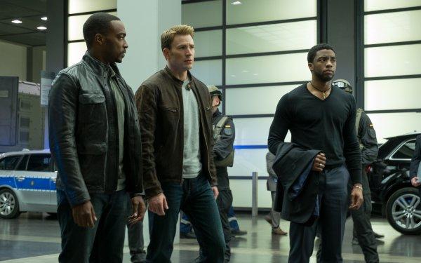 Film Captain America: Civil War Captain America Falcon Anthony Mackie Chris Evans Chadwick Boseman Black Panther Fond d'écran HD | Arrière-Plan