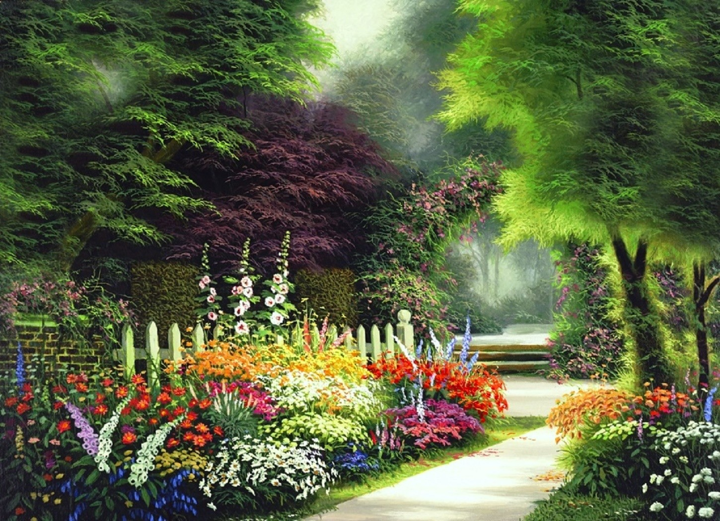Garden in springtime wallpaper and background image for Garden painting images