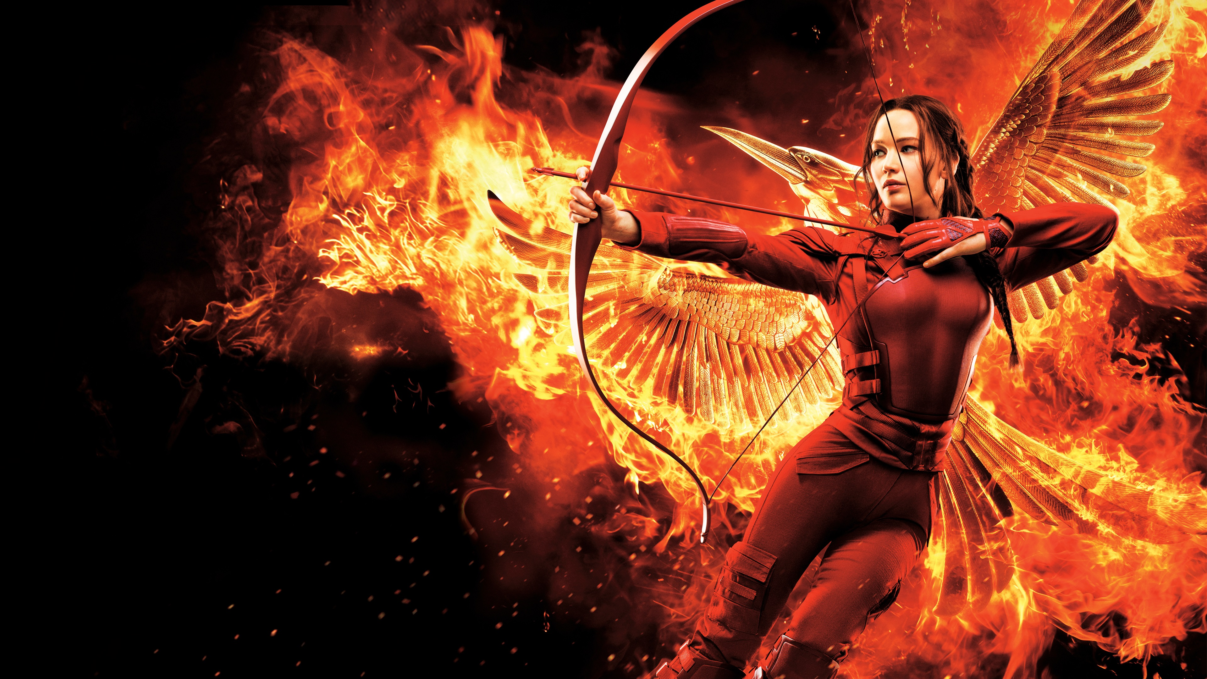 The hunger games mockingjay part 2 4k ultra hd wallpaper and movie the hunger games mockingjay part 2 jennifer lawrence wings bow flame fire voltagebd Choice Image