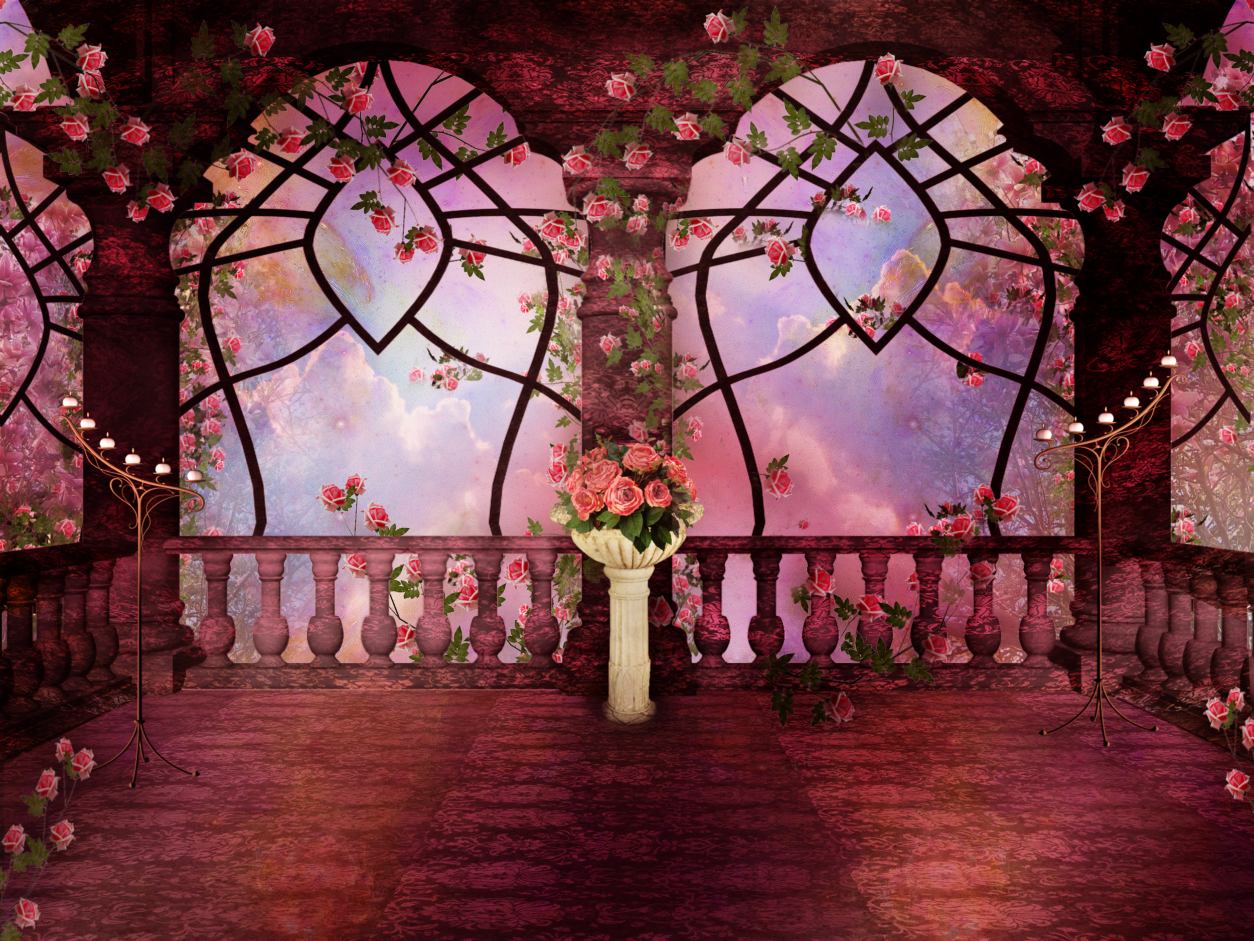 Pink Rose Gothic Fantasy Full Hd Wallpaper And Background