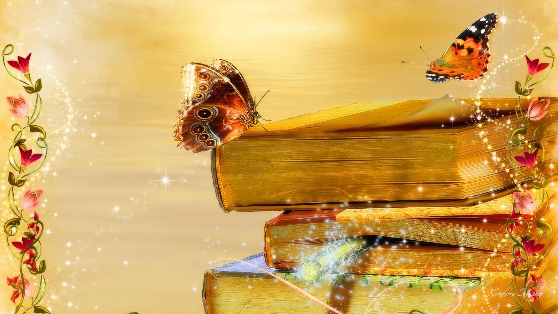 Books butterflies and flowers full hd wallpaper and for Book wallpaper for walls