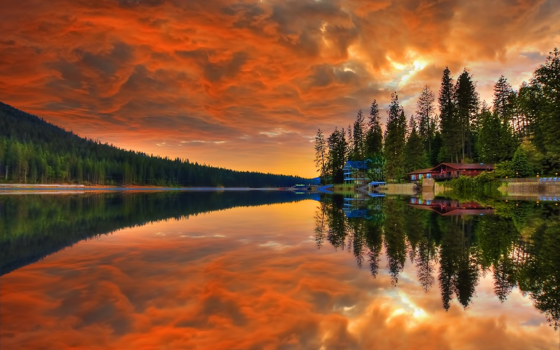 Haus am see wallpaper  Reflection of Houses on the Lake Full HD Wallpaper and Hintergrund ...