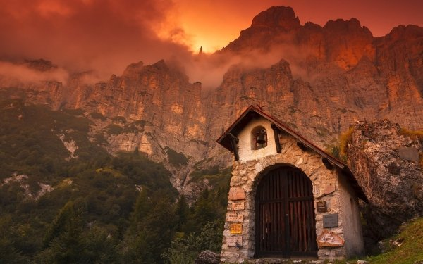 Religious Chapel Man Made Stone Building Dolomites Mountain Italy Sunset Cliff HD Wallpaper   Background Image