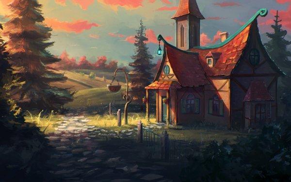 Artistic House Landscape HD Wallpaper | Background Image