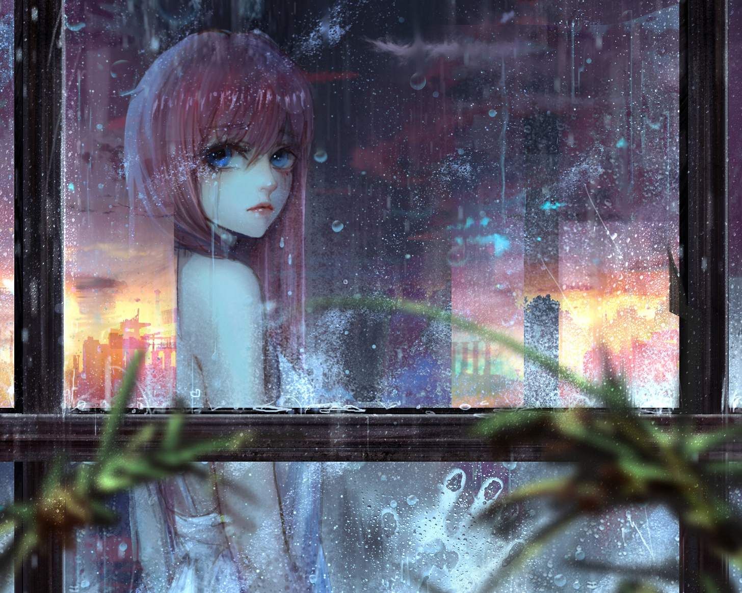 Anime girl wallpaper and background image 1456x1165 id - Anime rain wallpaper ...