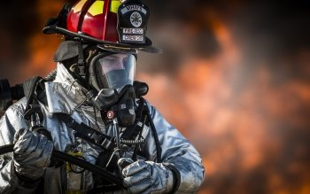 Firemen Training In Protective Suits Full HD Wallpaper And