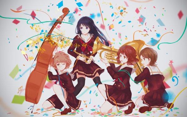 Anime Sound! Euphonium Reina Kousaka Kumiko Oumae Sapphire Kawashima Hazuki Katou Short Hair Brown Hair Brown Eyes School Uniform Skirt Long Hair Black Hair HD Wallpaper | Background Image