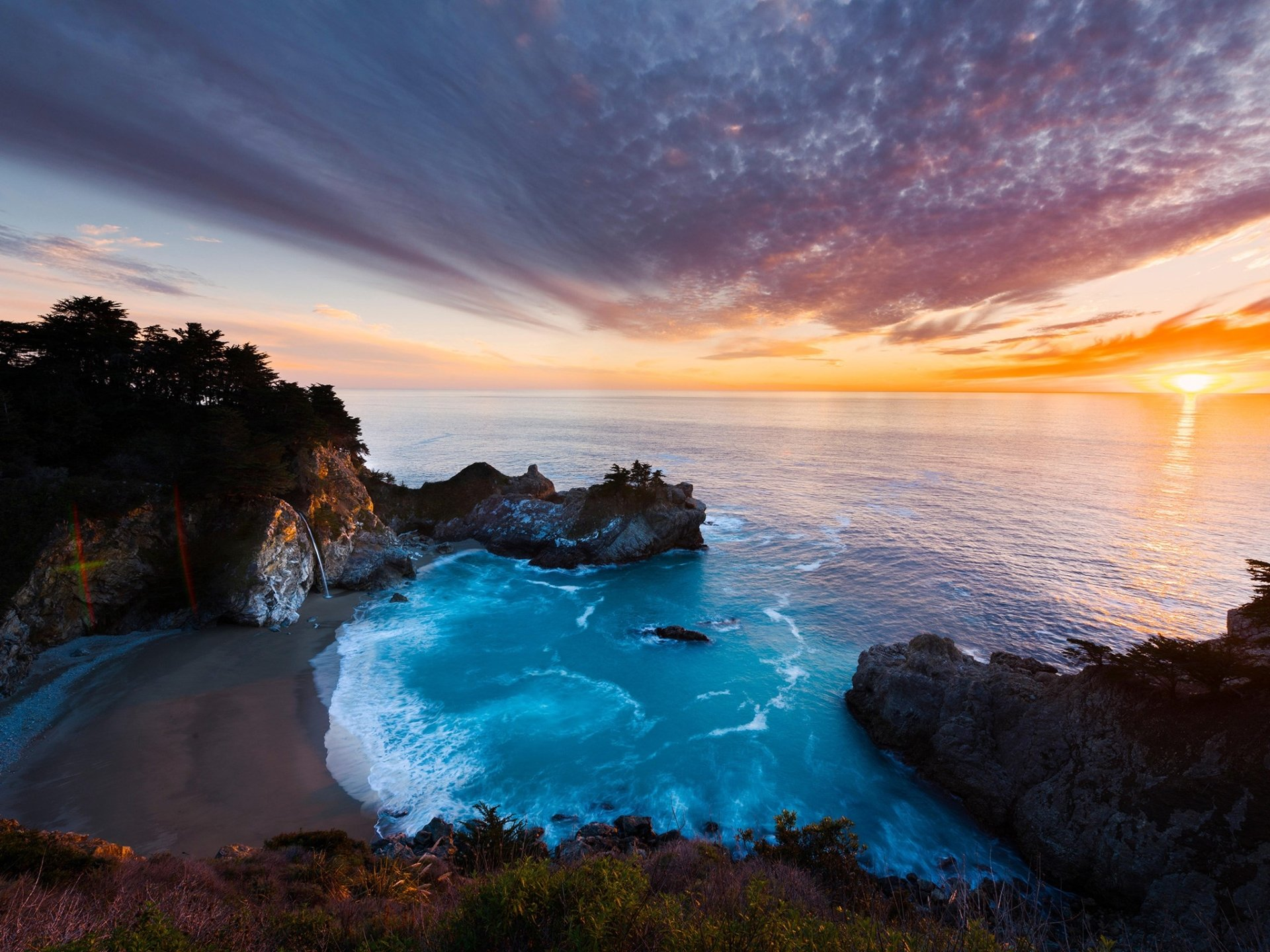 Earth - Big Sur  Earth Coast Ocean Rock Waterfall California Horizon Wallpaper