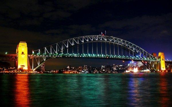 Man Made Sydney Harbour Bridge Bridges Bridge Sydney Night Light Australia HD Wallpaper   Background Image
