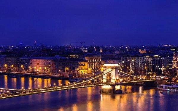 Man Made Budapest Cities Hungary Night River Building Panorama Bridge Chain Bridge HD Wallpaper | Background Image