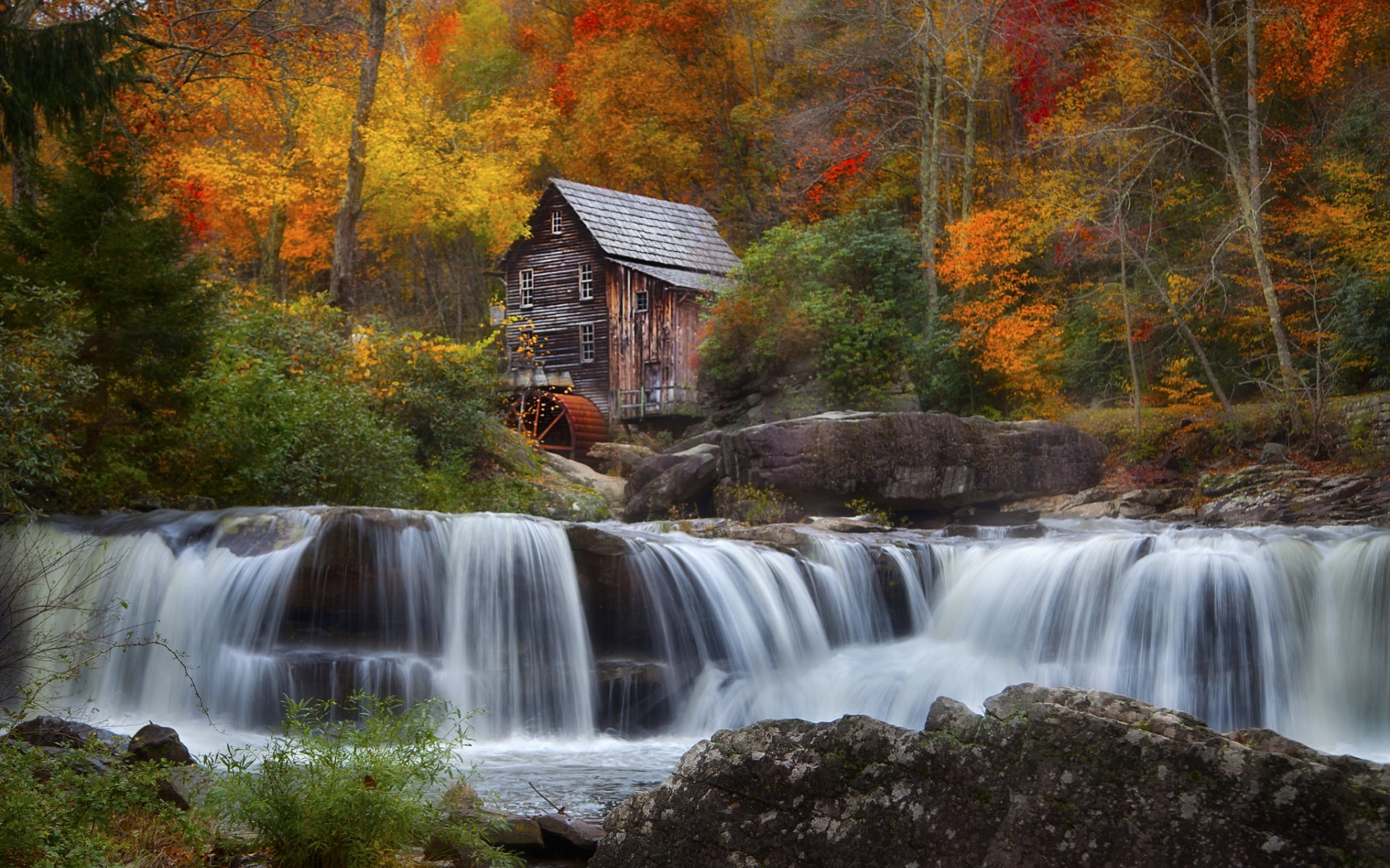 Old Mill and Waterfall in Autumn Full HD Wallpaper and ...