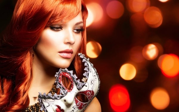 Women Judy Wilkins Models Model Woman Girl Redhead Mask Bokeh Brown Eyes HD Wallpaper | Background Image