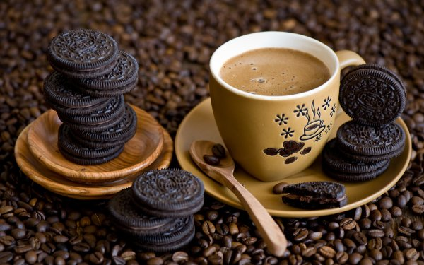 Food Coffee Cup Coffee Beans Cookie Still Life HD Wallpaper   Background Image