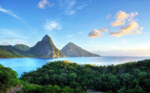 Earth Ocean Sea Caribbean Mountain Tree HD Wallpaper | Background Image