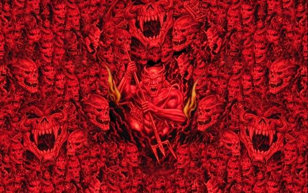 Oscuro Demonio Devil Cráneos Hell Rojo Fondo de pantalla HD | Fondo de Escritorio