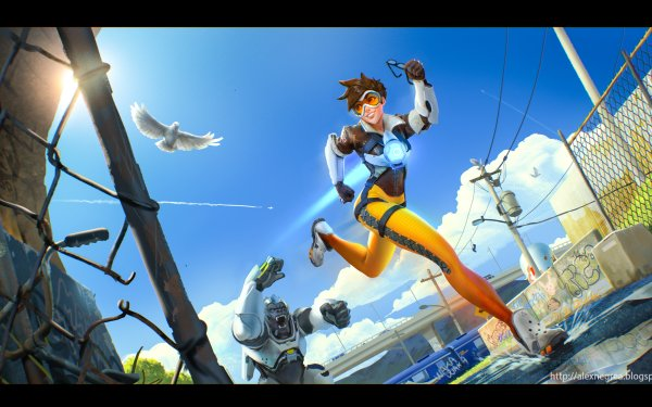 Video Game Overwatch Tracer Winston HD Wallpaper   Background Image