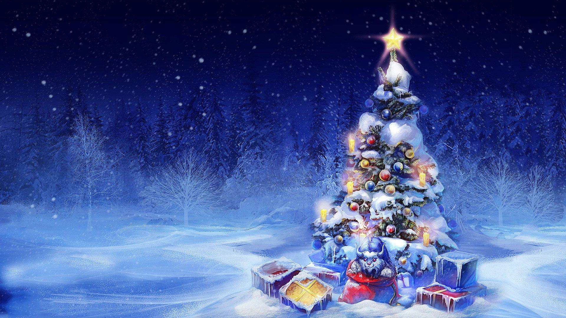 Holiday - Christmas  Holiday Winter Snow Christmas Tree Wallpaper