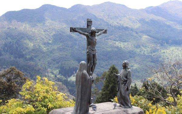 Religious Christian Jesus Columbia Cross Statue Sculpture HD Wallpaper | Background Image