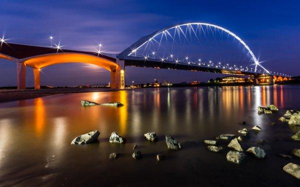 Man Made Bridge Bridges Night Light HD Wallpaper   Background Image
