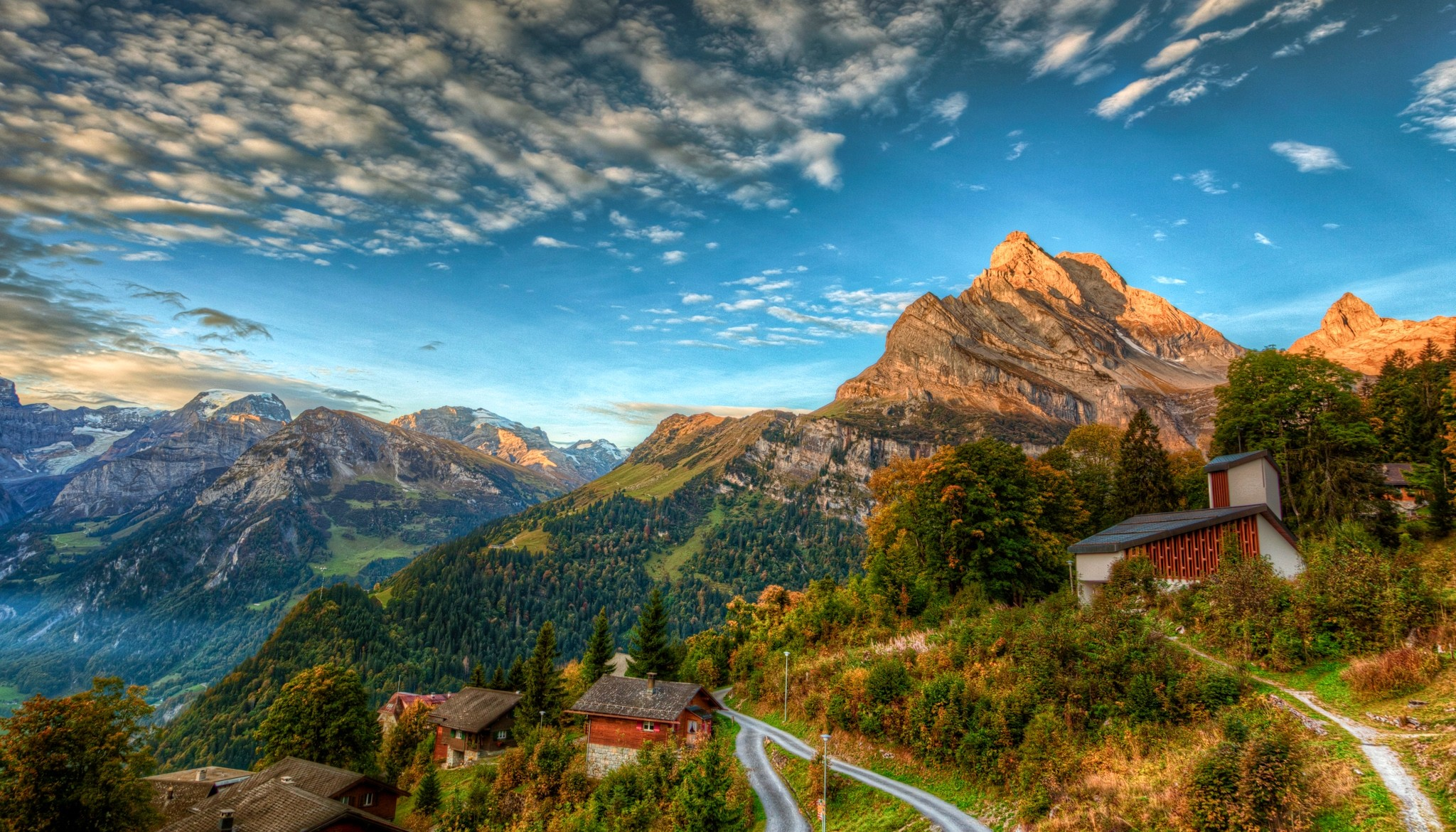 Village in the mountains hd wallpaper background image - Swiss alps wallpaper ...