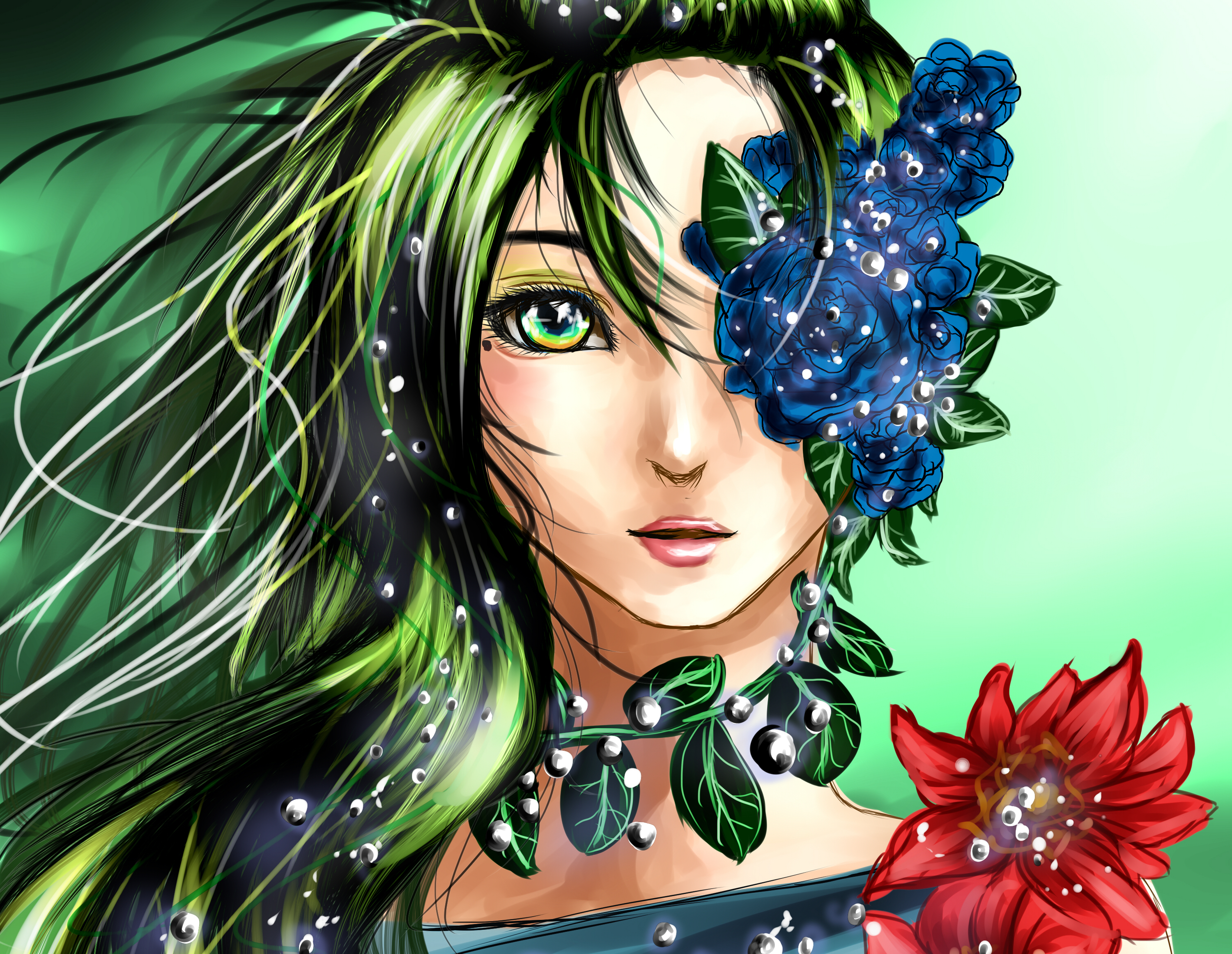 Fantasy - Fairy  Green Hair Green Eyes Fantasy Girl Woman Flower Leaf Sparkles Wallpaper