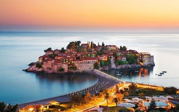 Man Made Town Towns Montenegro Island House Resort HD Wallpaper   Background Image