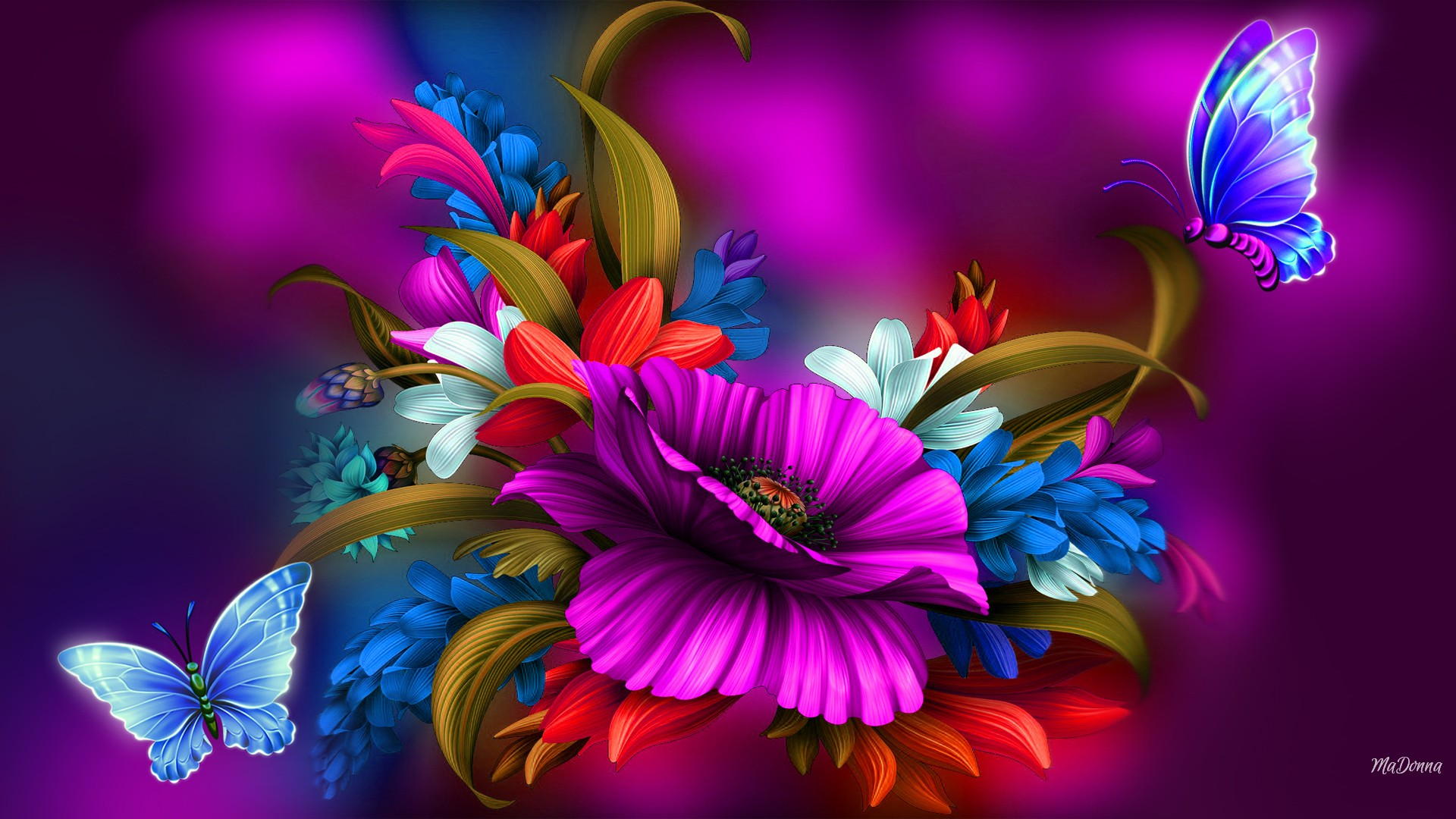 Colorful Flower And Butterfly Abstract HD Wallpaper