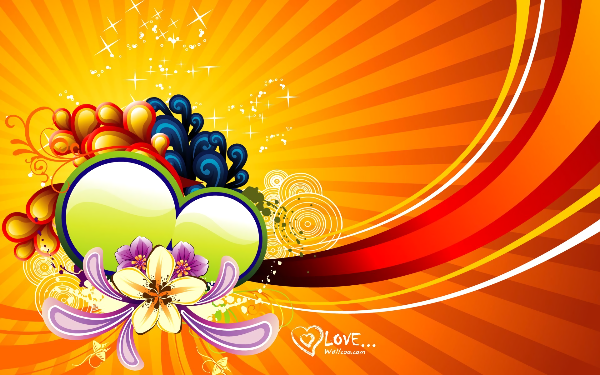 Colorful Love Vector Full HD Wallpaper And Background Image