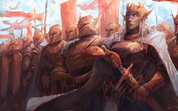 Fantasy Elf Woman Warrior Pointed Ears Armor Crown Sword Warrior Army Helmet Purple Eyes HD Wallpaper | Background Image
