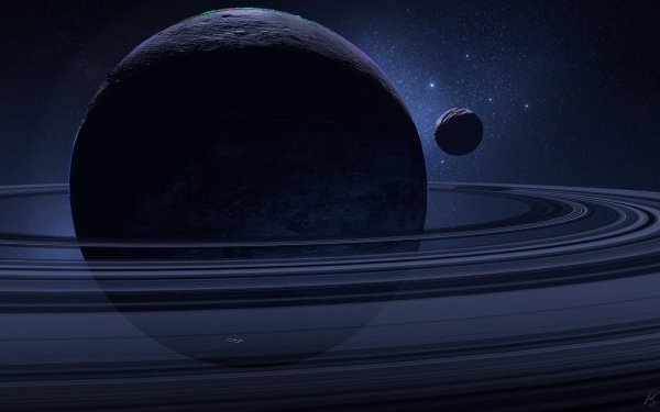 Sci Fi Planetary Ring Planet Moon Space HD Wallpaper   Background Image