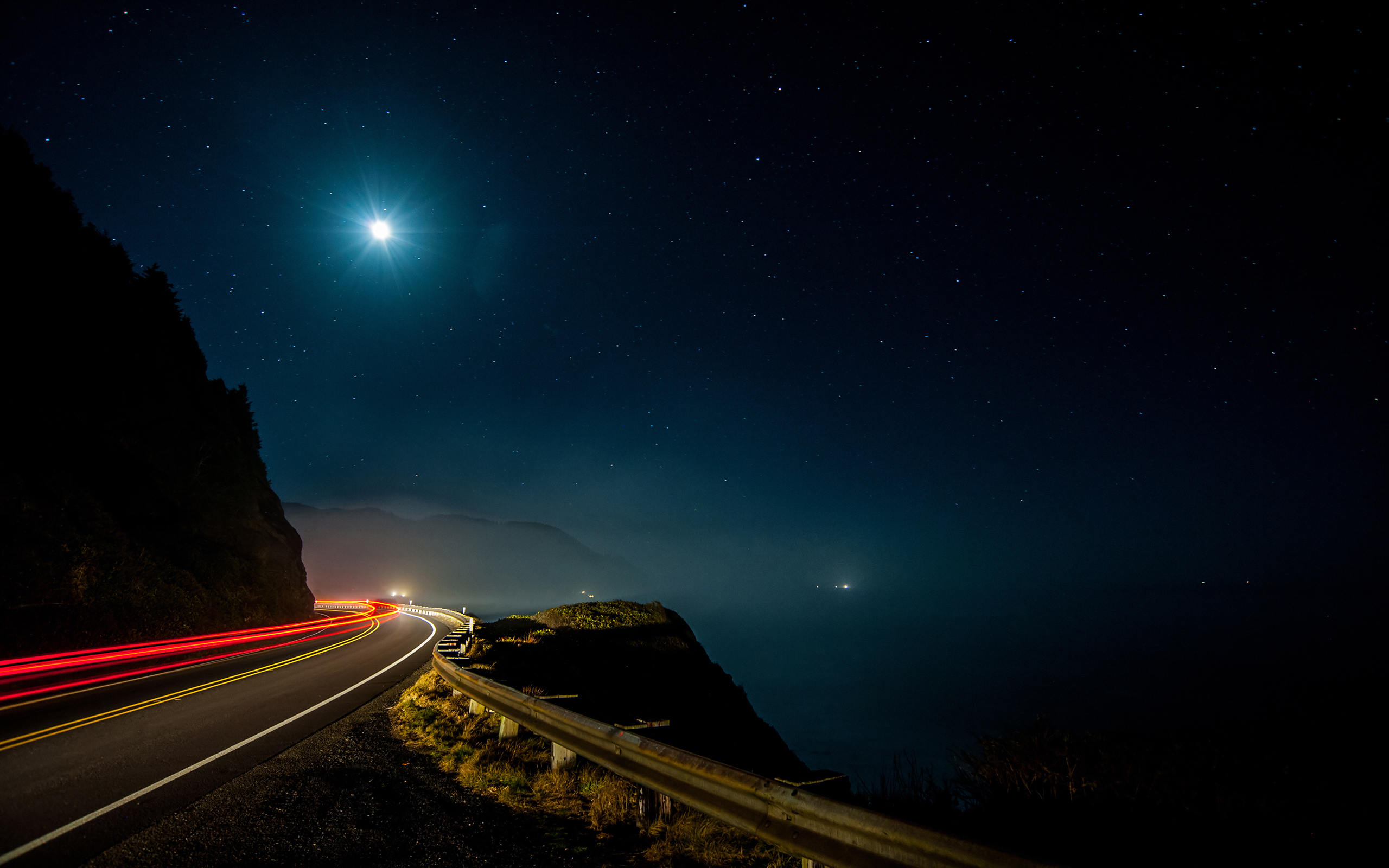 Mountain Road On A Starry Night Papel De Parede Hd Plano De Fundo 2560x1600 Id 707401 Wallpaper Abyss