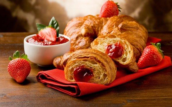 Food Croissant Breakfast Jam Strawberry HD Wallpaper | Background Image