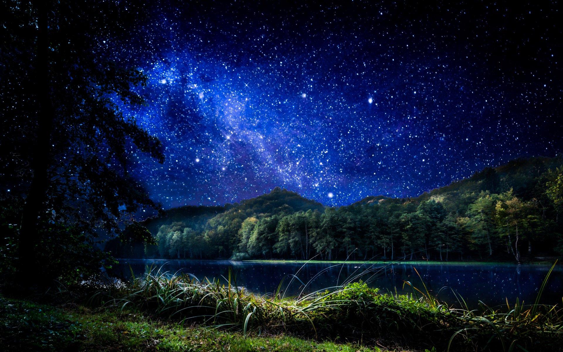 Starry sky over mountain and lake 4k ultra hd wallpaper - Night mountain wallpaper 4k ...