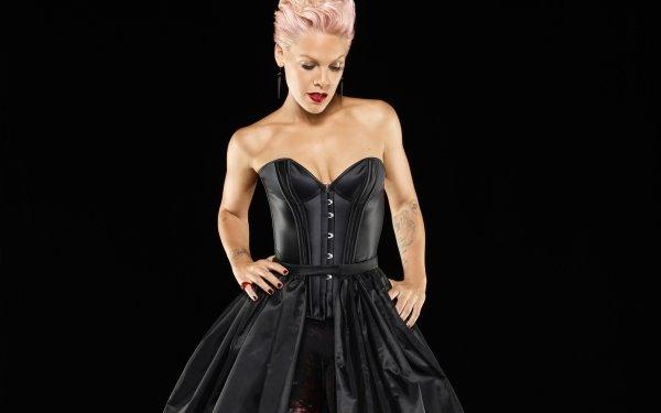 Music Pink Singers United States American Singer Tattoo Black Dress Lipstick HD Wallpaper | Background Image