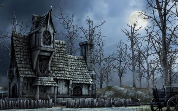 Dark House Artistic Fantasy Haunted Abandoned HD Wallpaper | Background Image