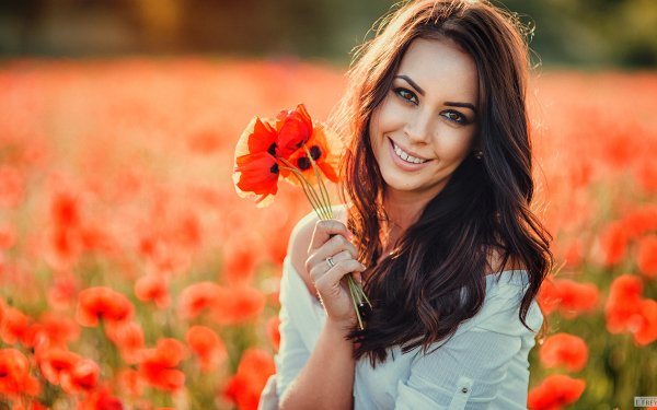 Women Model Models Brunette Brown Eyes Smile Blur Poppy Red Flower Outdoor HD Wallpaper | Background Image