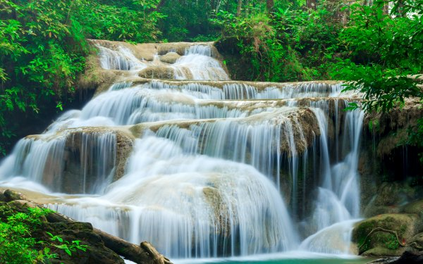 Earth Waterfall Waterfalls Thailand Forest Green HD Wallpaper   Background Image