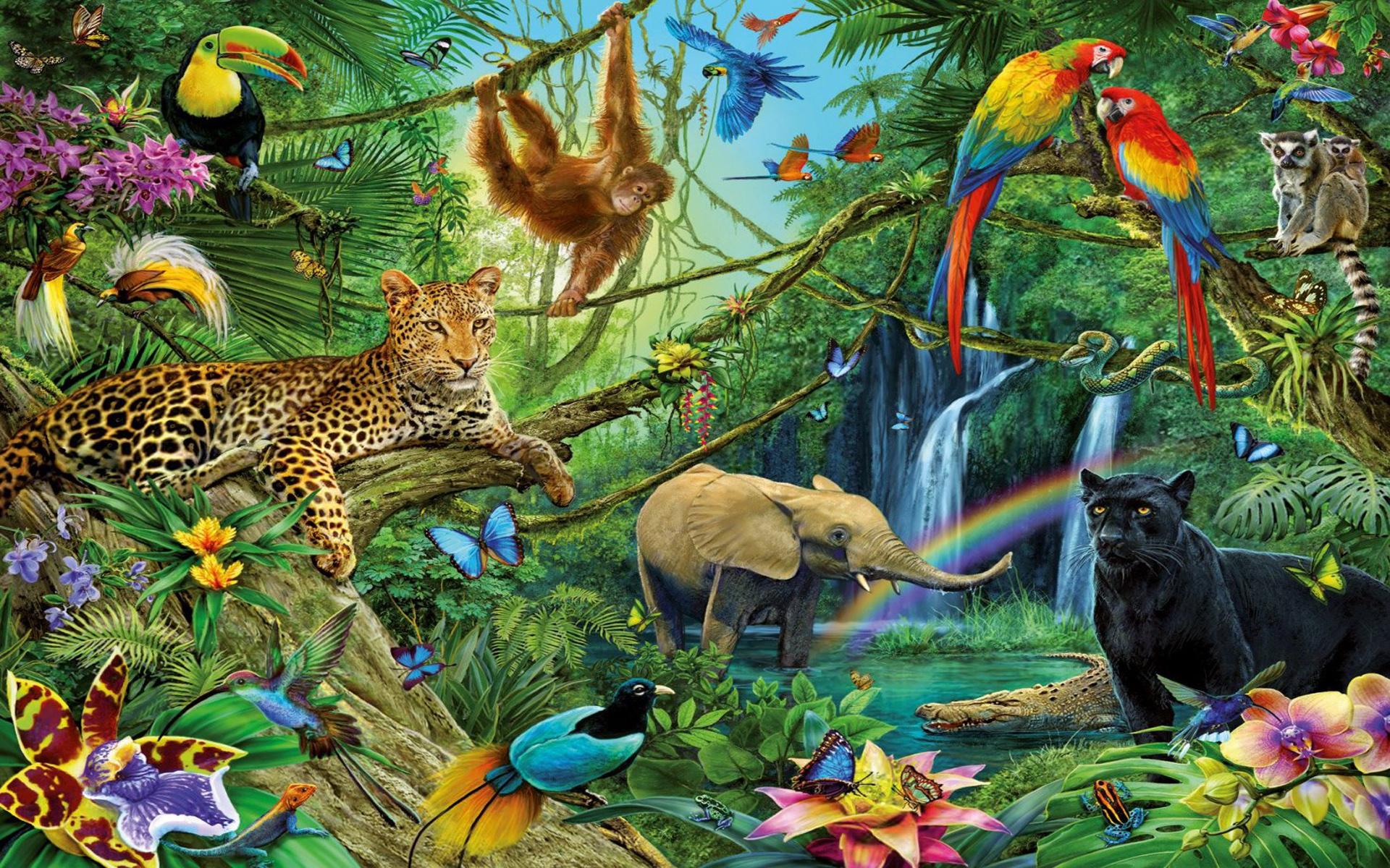 Artistic Painting Black Panther Leopard Toucan Lemur Parrot Elephant