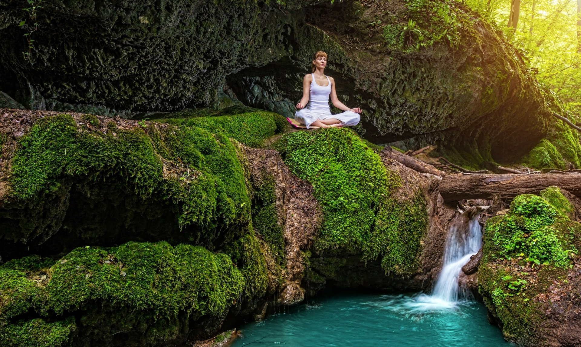 Women - Yoga  Woman Waterfall Pond Rock Moss Wallpaper