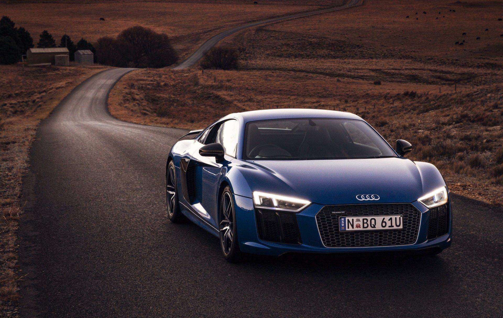 Vehicles - Audi R8  Audi R8 V10 Audi Supercar Blue Car Sport Car Car Vehicle Wallpaper